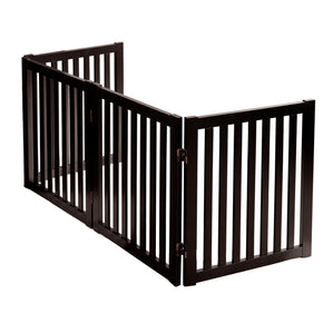 "24"" Freestanding Pet Gate, 4 Panel Step Over Fence, Expands Up to 80"" Wide"