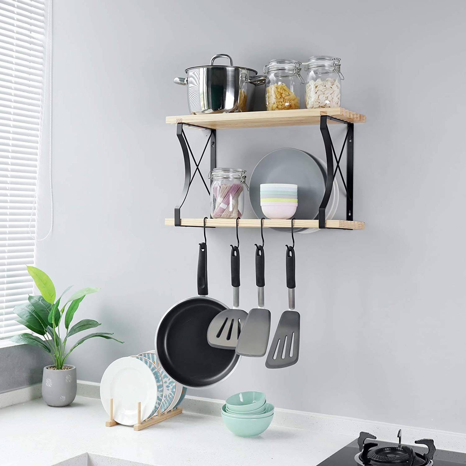 Kitchen Shelf With Hooks | Bed Bath & Beyond