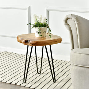 Live Edge Side Table With Hairpin Legs, 16-Inch Tall