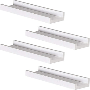 Picture Ledge White Floating Shelves 4 Pack, Modern Design for Bathroom/Entryway/Nursery/Living Room 16 Inch