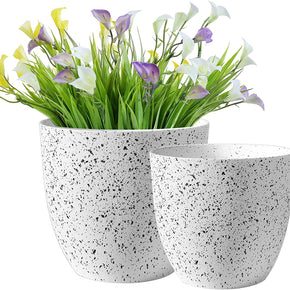 Plant Flower Pots Indoor Outdoor Planter Garden Planters Set of 2 with Drainage and Hole Mesh Pad for All House Plants, Herbs, Foliage Plant, and Seeding