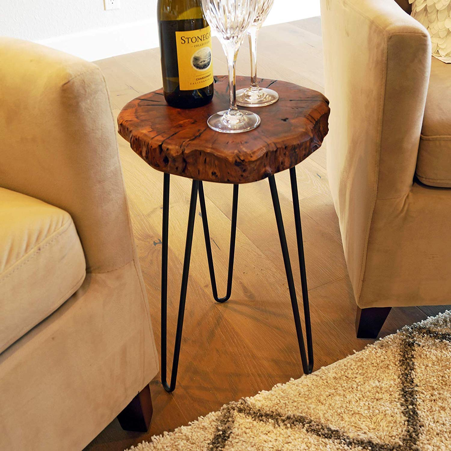 Picture of: Natural Wood Stump Rustic Surface End Table Wellandstore