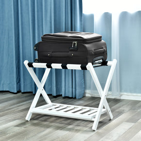 WELLAND Wood Folding Luggage Rack with Shelf