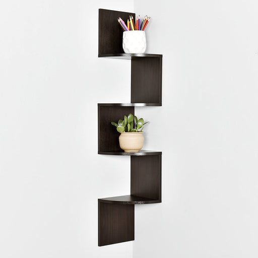 Zig Zag 4 Tier Corner Wall Shelf, 40.25'' H x 7.8'' W x 7.8'' T