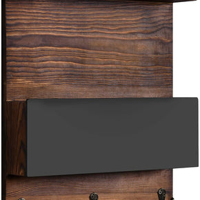 Wood Wall-Mounted Mail Holder Organizer with Chalkboard & Key Holder with 3 Key Hooks, Wall Décor for Entryway