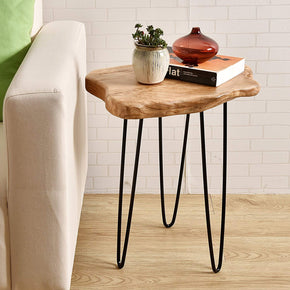 Natural Edge End Table with Hairpin legs, 19.5-Inch Tall