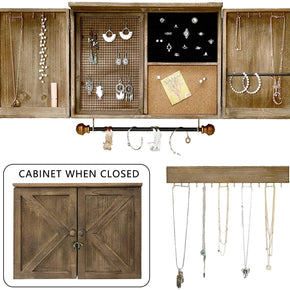 WELLAND Rustic Wall Mounted Jewelry Organizer Hanging Jewelry Cabinet Box for Necklaces, Bracelets, Earrings, Rings, and Lipsticks, Includes Bracelet Rod & Hook Organizer