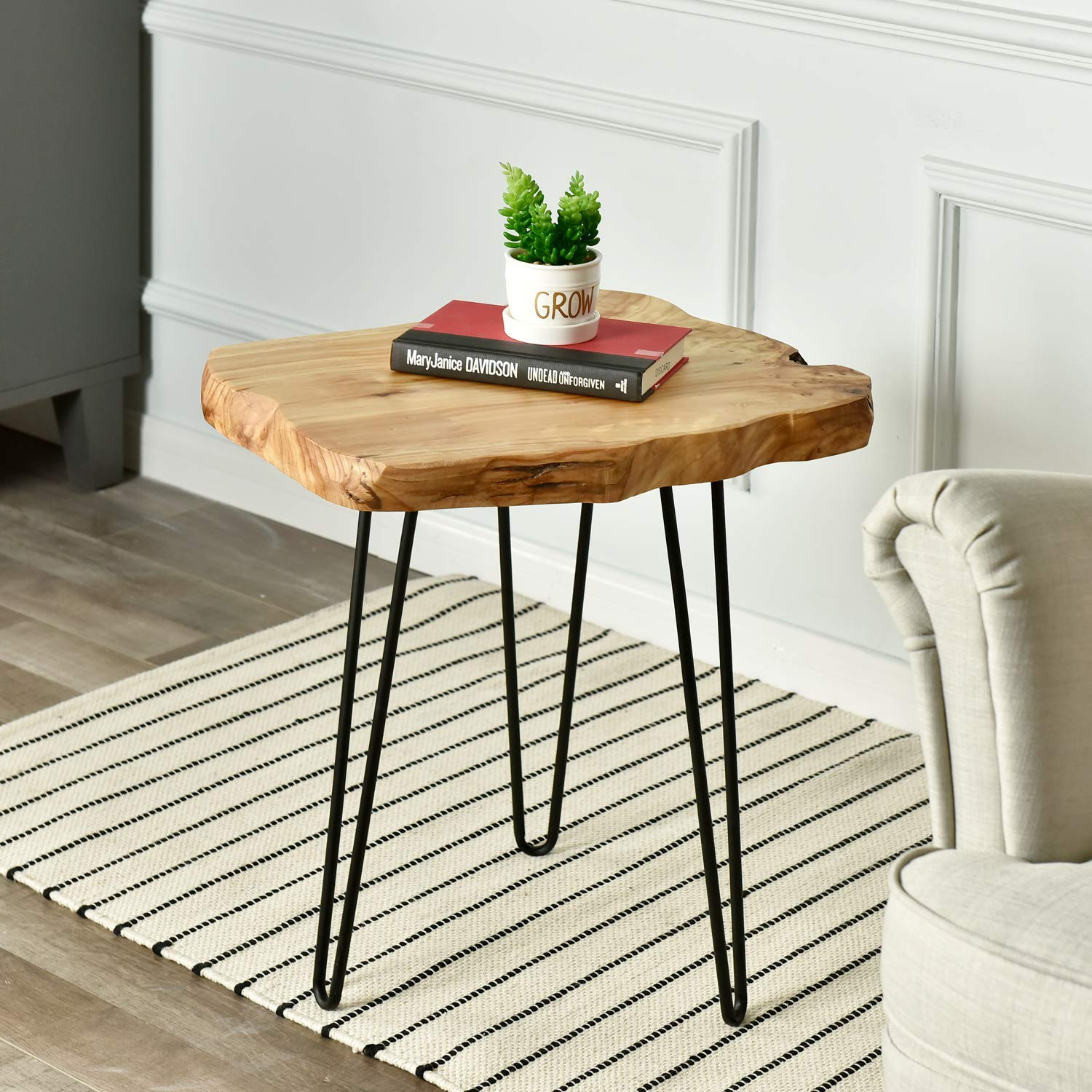 Natural Edge End Table With Hairpin Legs Wood Side Table Nightstand Wellandstore
