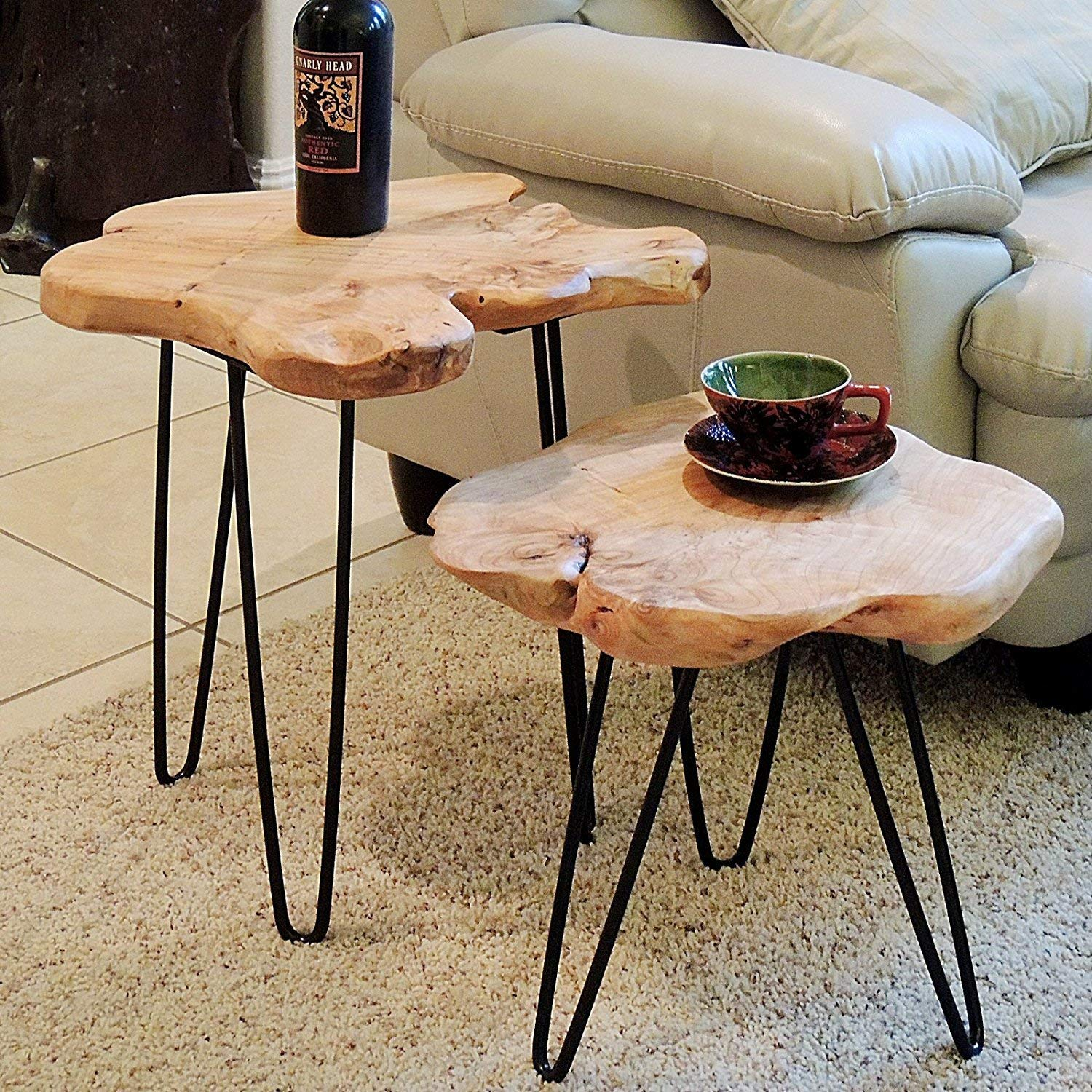 Tall End Table Cedar Wood Root Live Edge Hairpin Leg Side Table WELLAND