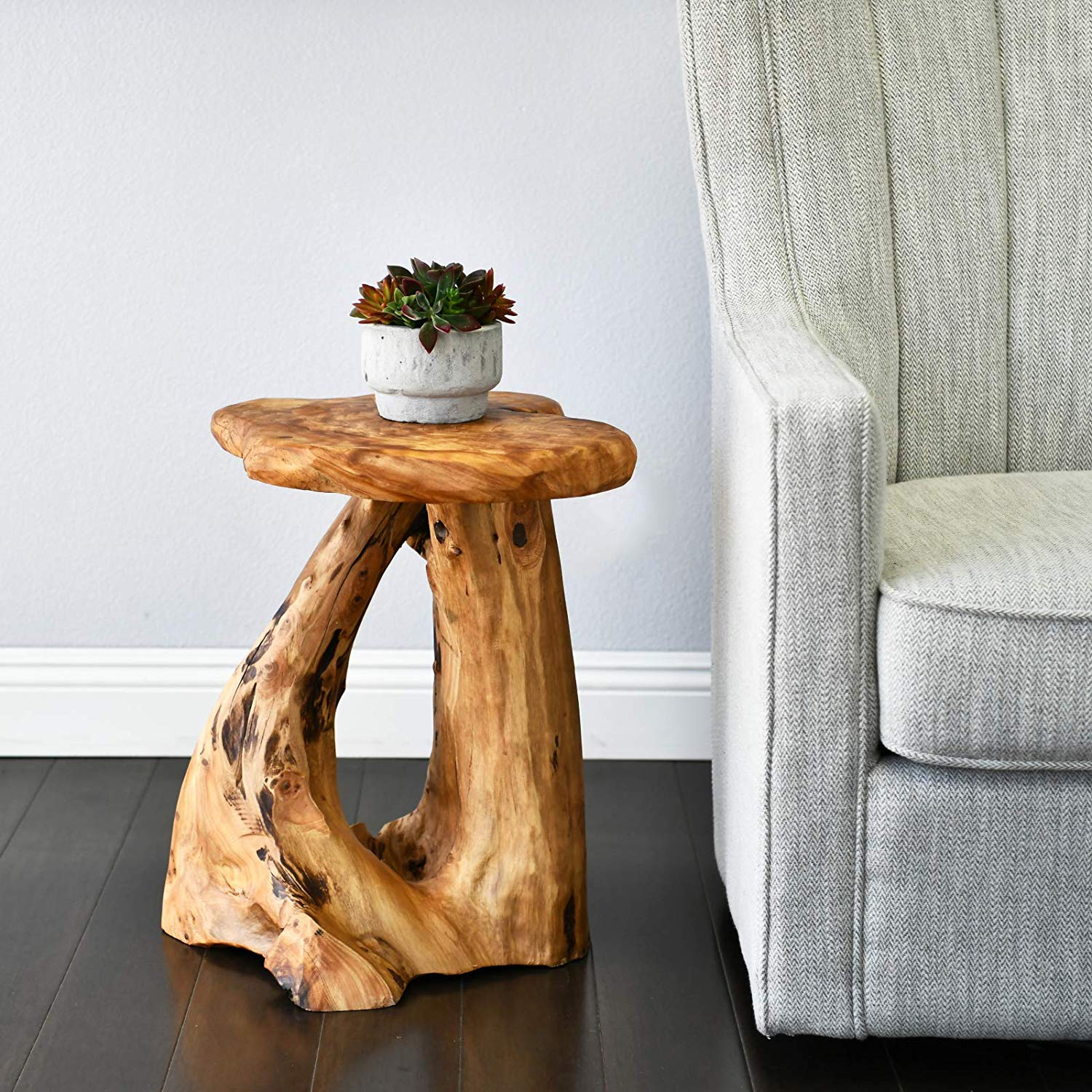 Natural Tree Stump Side Table 19 Inch Tall