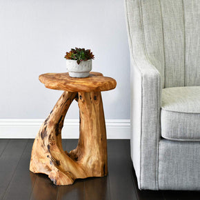 Natural Tree Stump Side Table, 19 Inch Tall