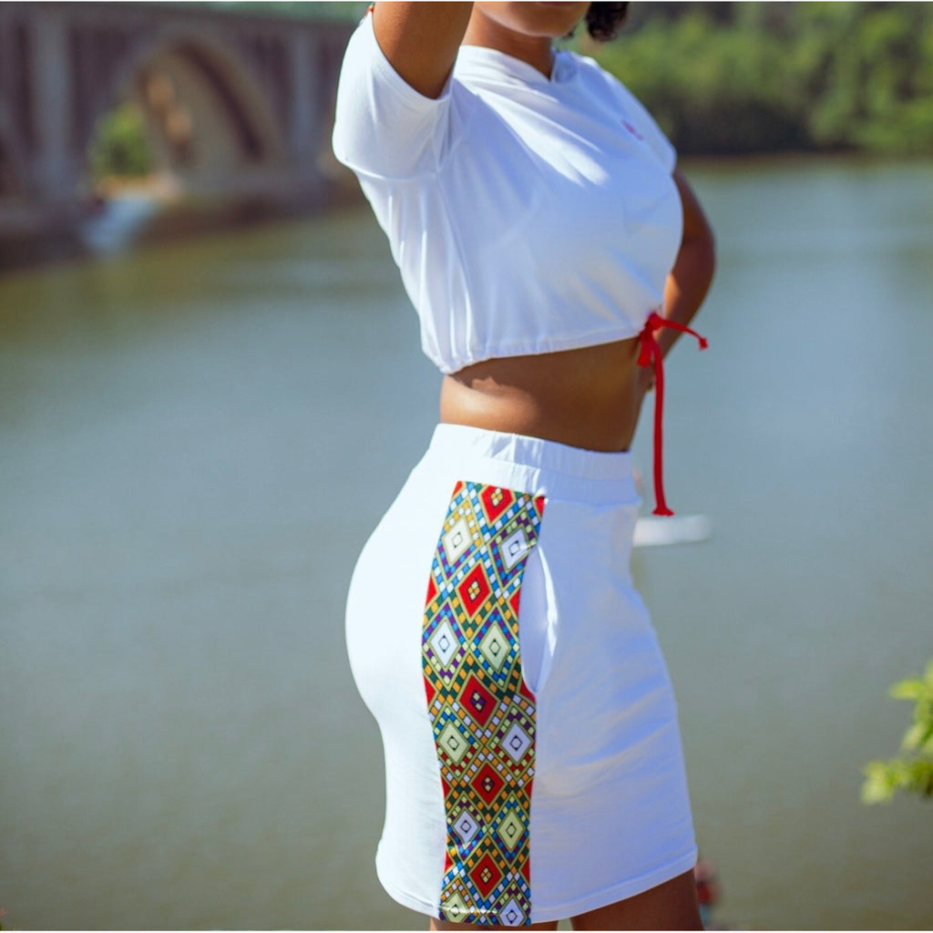 ERT-ALE™ Tilet Crop Top Set - White