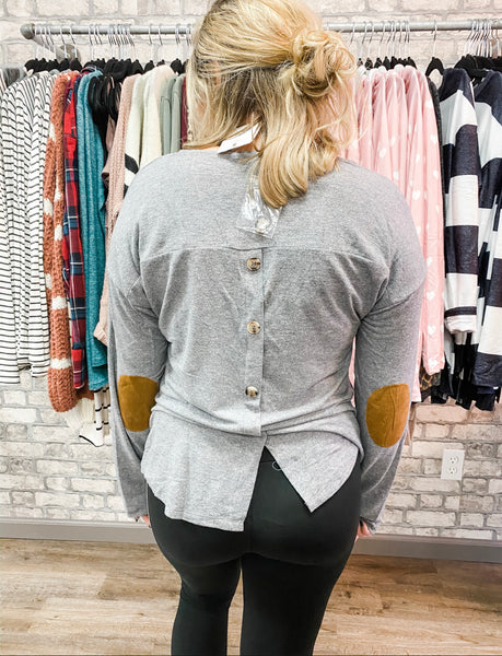 Grey Button Elbow Patch Top - Lucy Couture Boutique