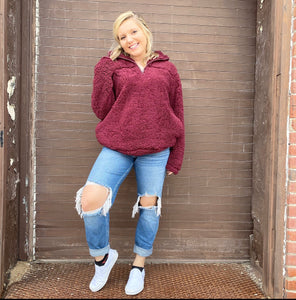 Burgundy Fleece Sherpa - Lucy Couture Boutique