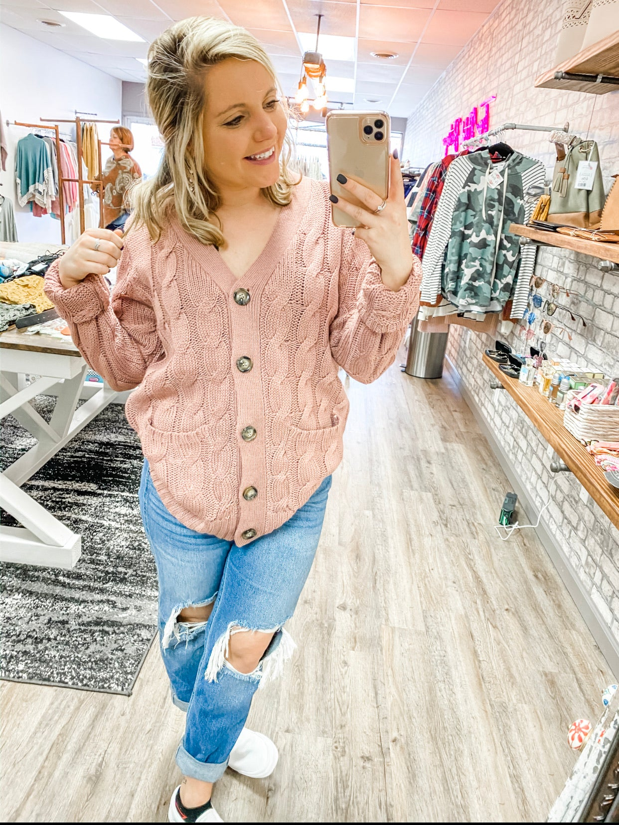 Mauve Pink Cardigan/Top - Lucy Couture Boutique