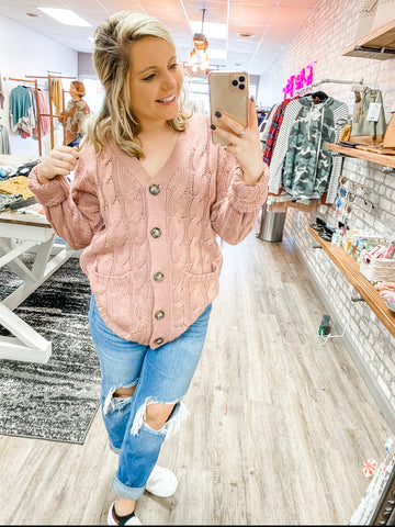 Mauve Pink Cardigan/Top