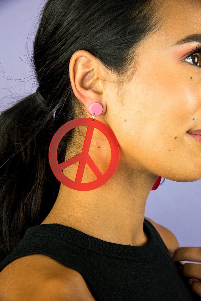 Big Peace Earrings Earrings Ravel & Unravel Frosted Red & Pink