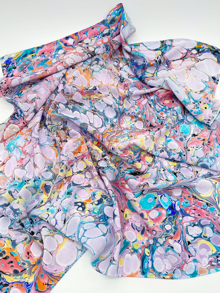 Large Marbled Silk Scarf 02 Ravel & Unravel