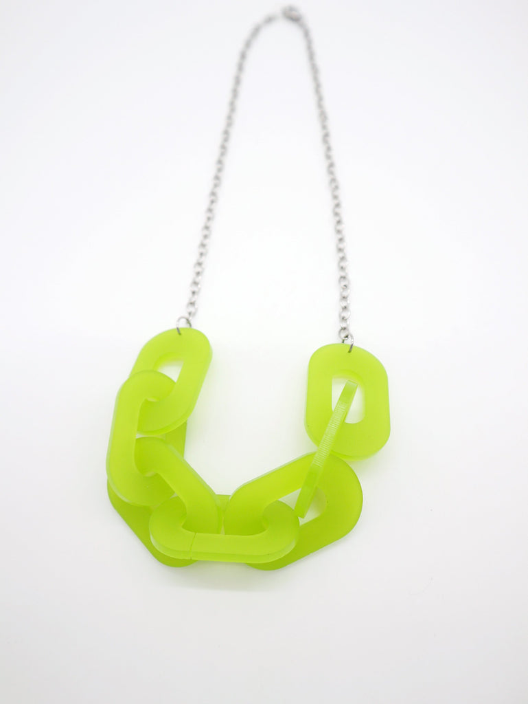 Link Necklace Jewelry Ravel & Unravel Frosted Lime