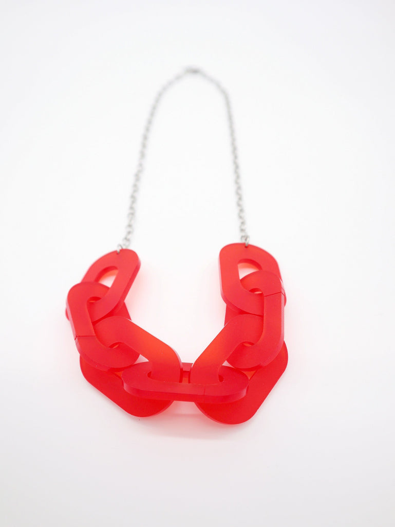 Link Necklace Jewelry Ravel & Unravel Frosted Red