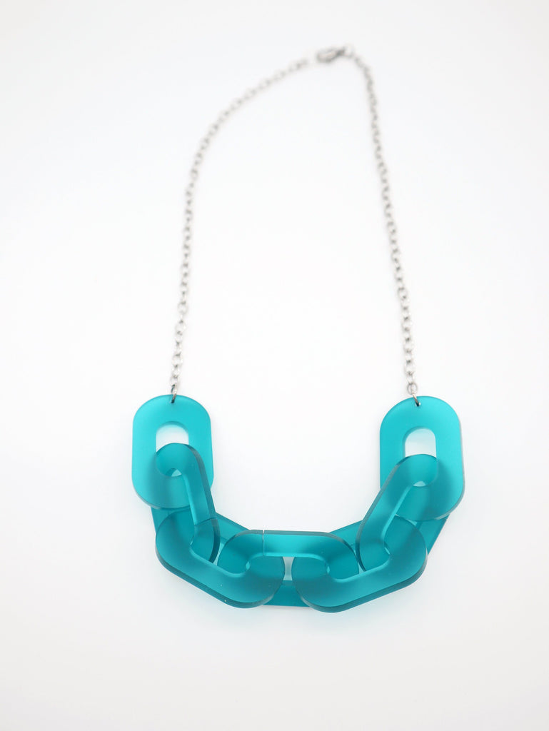 Link Necklace Jewelry Ravel & Unravel Frosted Teal