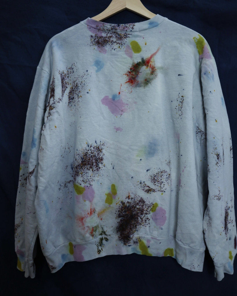 Size Large Cotton Crew Neck Slouchy Sweatshirt - Steel Blue Ravel & Unravel