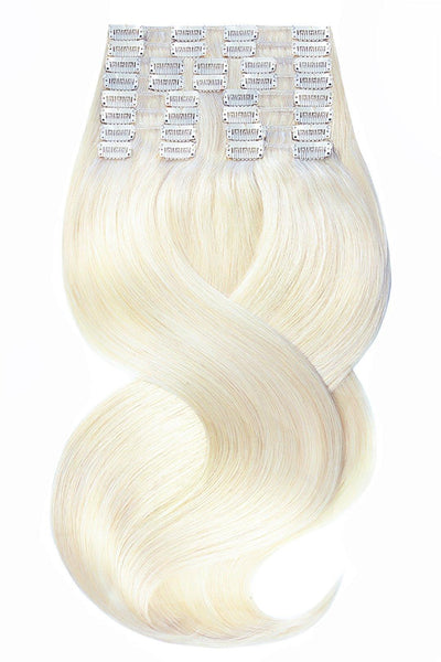 Extension de Cheveux a Clip Naturel Blond Platine