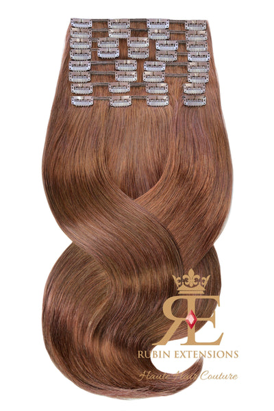 Extension de Cheveux a Clip Naturel Brun Acajou