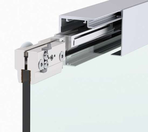 Master Track Ft 60 wall mounted door track with side panel - Wakefield Glass & Aluminium