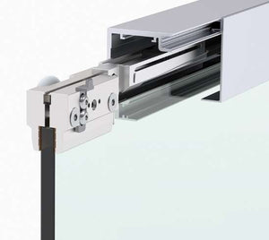 Master Track Ft 60 ceiling mounted door track with side panel - Wakefield Glass & Aluminium