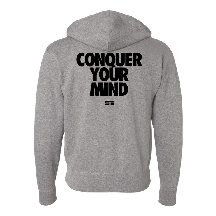 Conquer Your Mind Zip Hoodie Grey