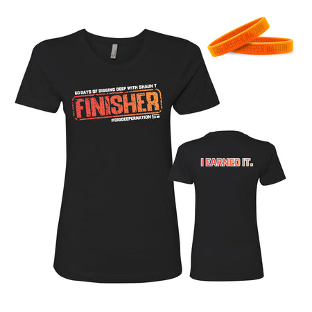 I EARNED IT Finisher Women's Tee + Wristband BUNDLE