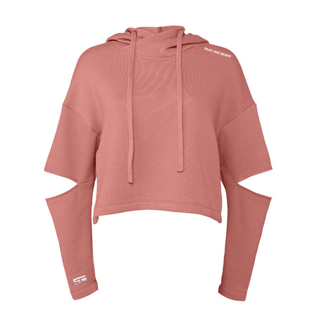 Women's T&B Cut Off Fleece Hoodie - Mauve (Embroidered)