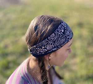 Black Rose Gold Floral Fitness Headband