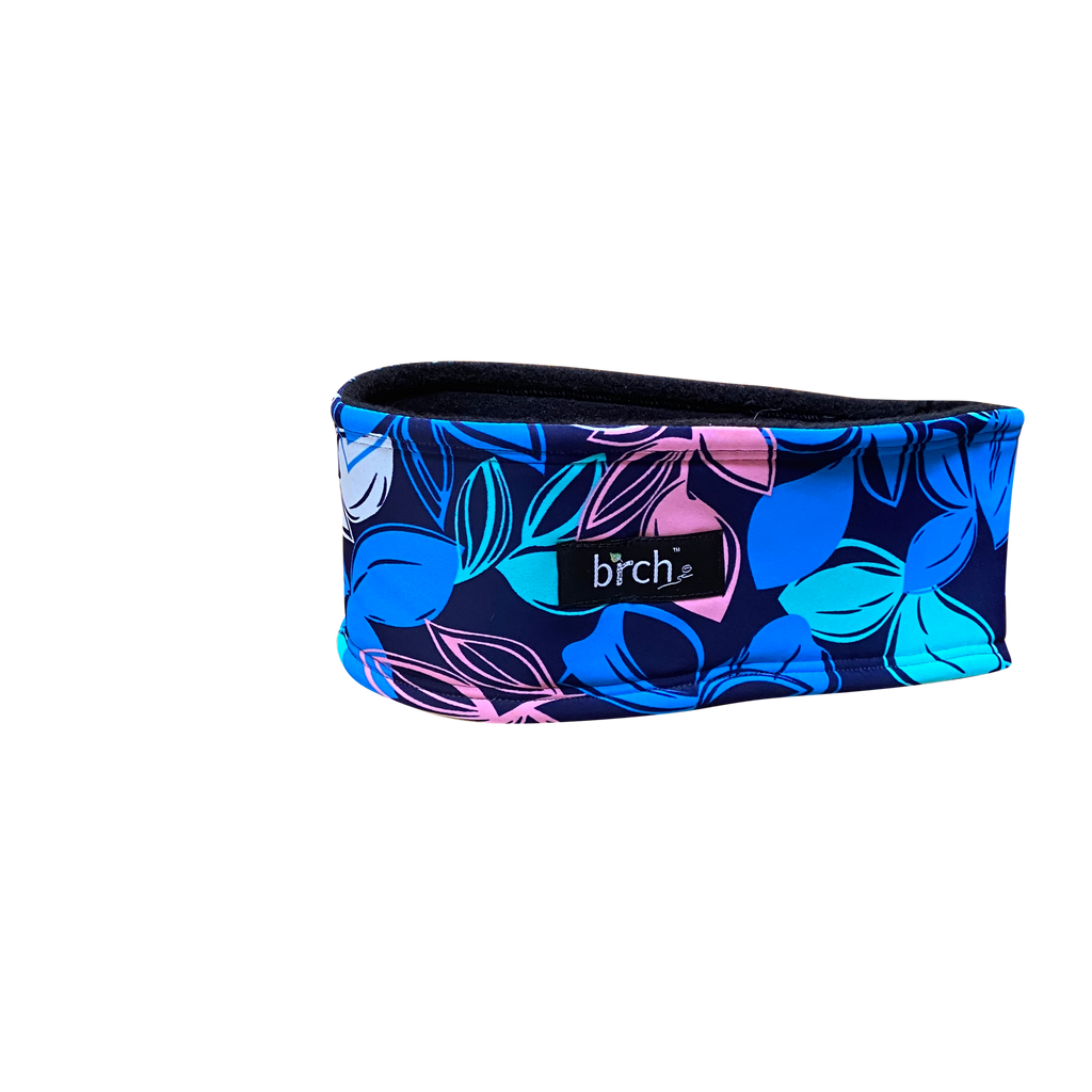 Navy Floral Polartec Lined Headband
