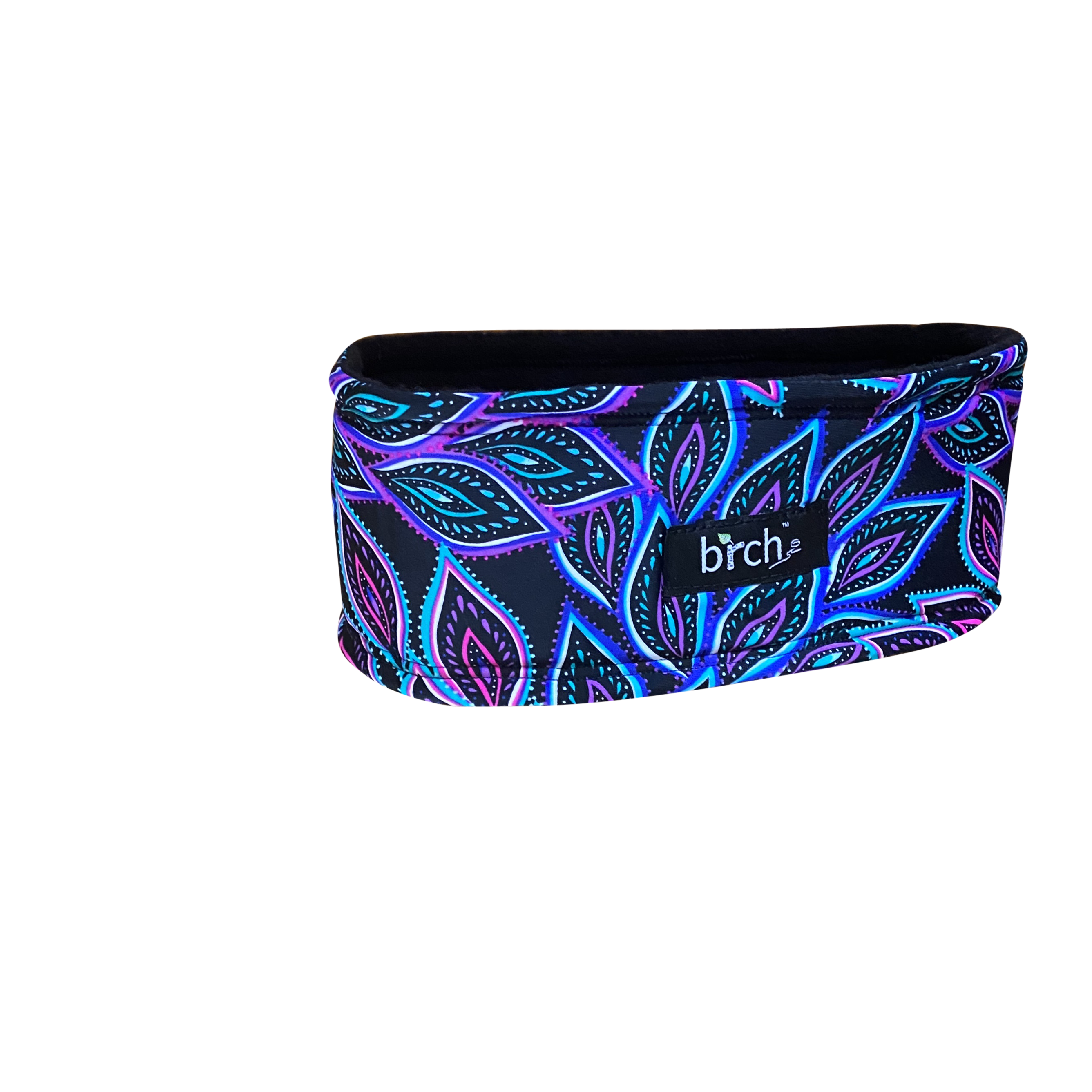 Black, Blue, Fucshia Leaf Polartec Lined Headband