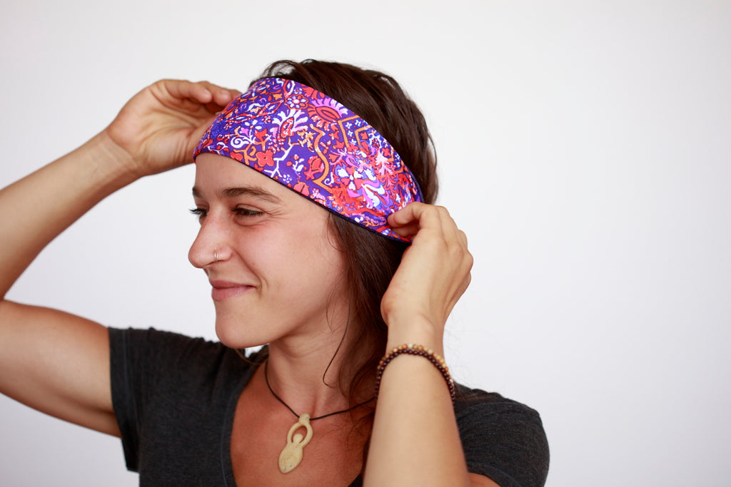 Purple Pink Medley Reversible Fitness Headband