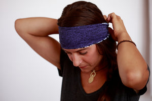 Purple Marl with Black Ikat Fitness Headband