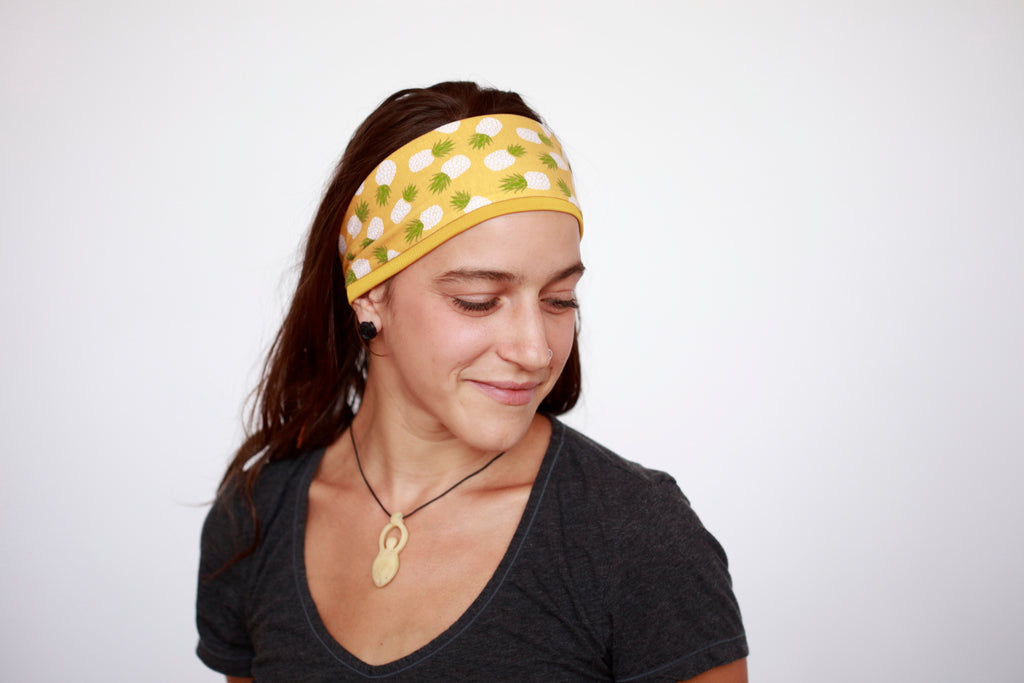 Yellow Pineapple Reversible Fitness Headband