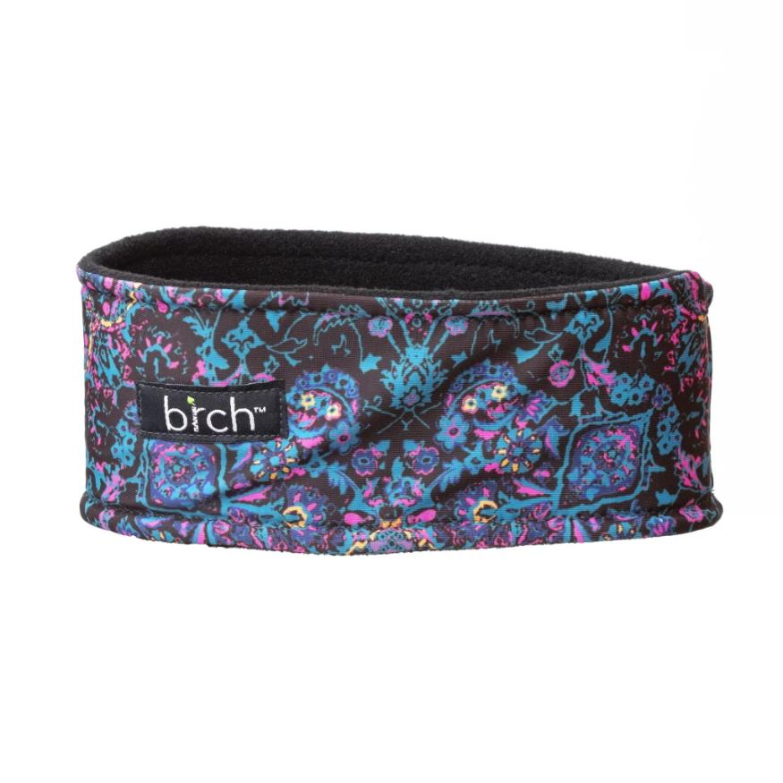 Black, Teal and Pink Paisley Polartec Lined Headband