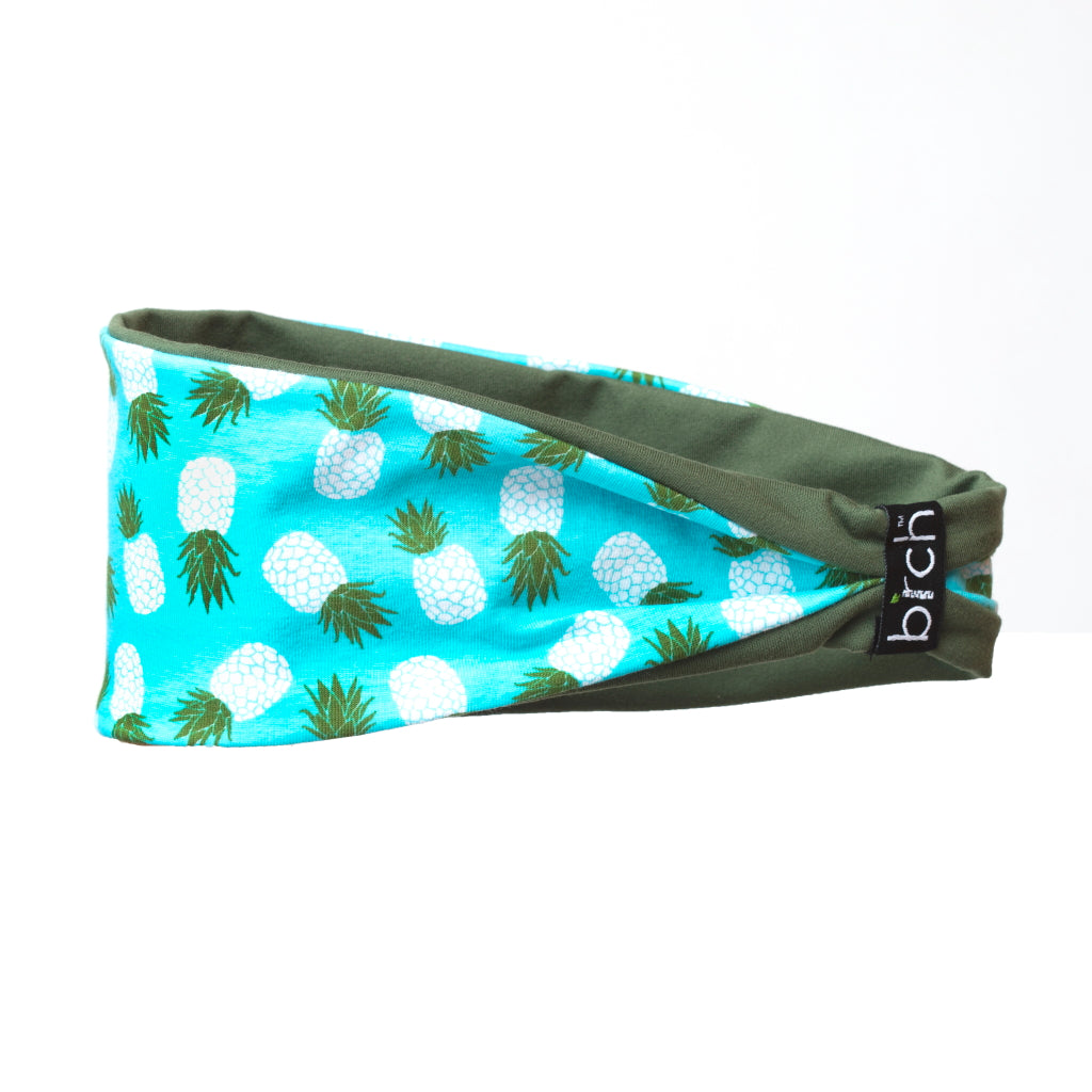 Teal Pineapple Reversible Fitness Headband