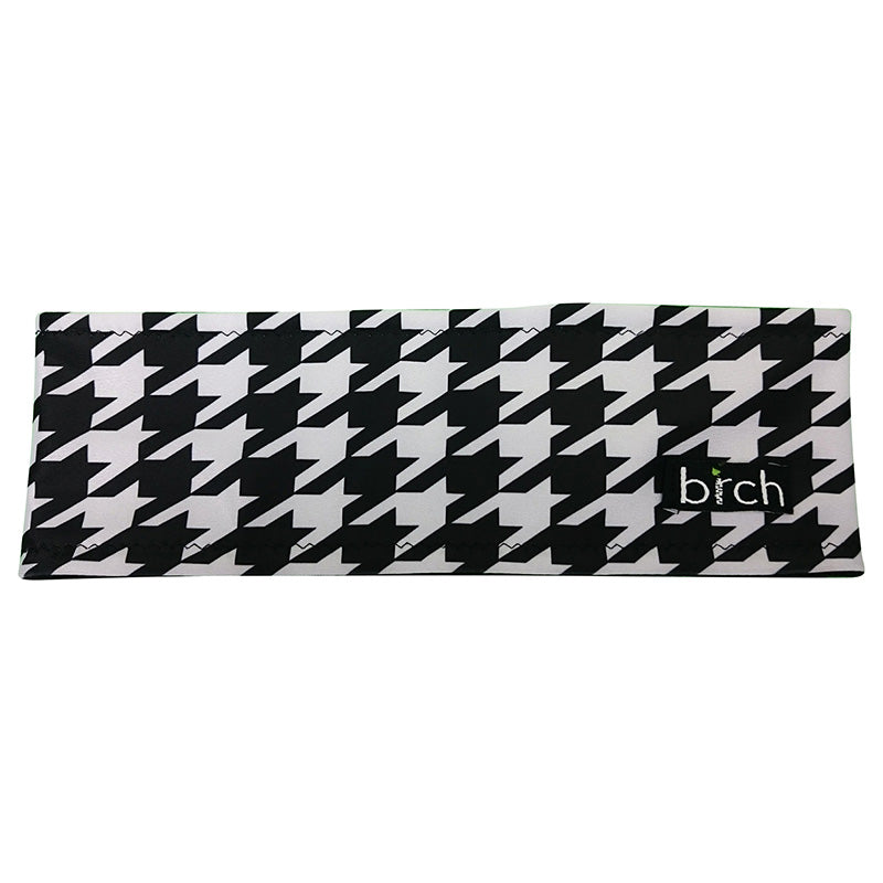 Black and White Houndstooth Polartec Lined Headband