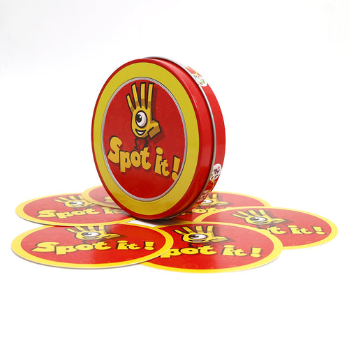 Newest high quality spot it cards game with metal box best gift for the family gathering, imported paper produce board game