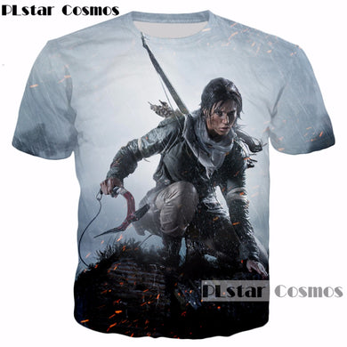 PLstar Cosmos 2017 New design Classic game Tomb Raider 3d T-shirt characters Lara Croft print summer style casual t shirt R3883