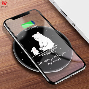 ASINA QI Wireless Charger Receiver For iPhone X 8 8 Plus Portable Cartoon Fast Wireless Charger For Samsung Galaxy S9 S8 Note 8