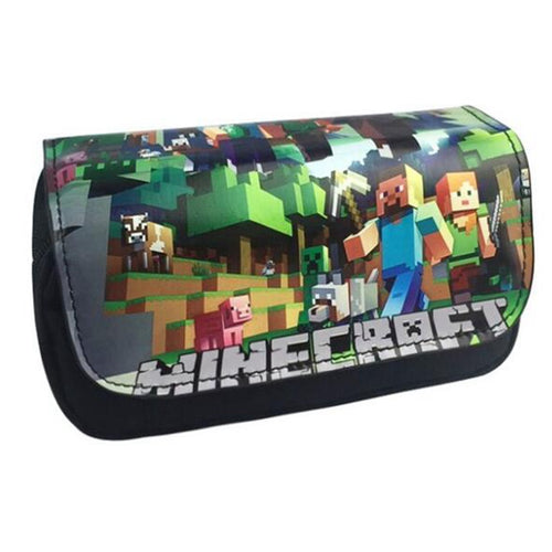 Minecraft Pencil Case Classic Game Animated Cartoon PU Fabric Super Big Capacity Pencil Bag School Supplies Bts Stationery Gift