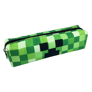 Classic Game Minecraft Pencil Case Animated Cartoon Fabric Canvas Big Capacity Pencil Bag School Cute Pencil Box Bts Stationery