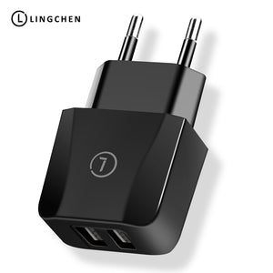LINGCHEN 2.1A Mobile Phone Charger for iPhone 6 7 EU Plug USB Charger  For Samsung S9 Dual USB Ports Fast Charger For Phone