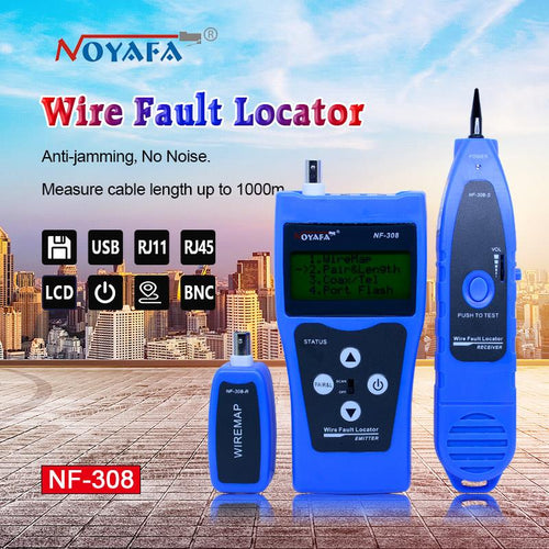 Network monitoring cable tester LCD NF-308 Wire Fault Locator LAN Network Coacial BNC USB RJ45  RJ11 blue color
