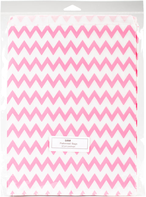 "SRM Patterned Bags 8.5""X11"" 12/Pkg-Light Pink Chevron"